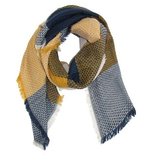 CTM® Women's Colorblock Check Blanket Scarf Wrap - One size