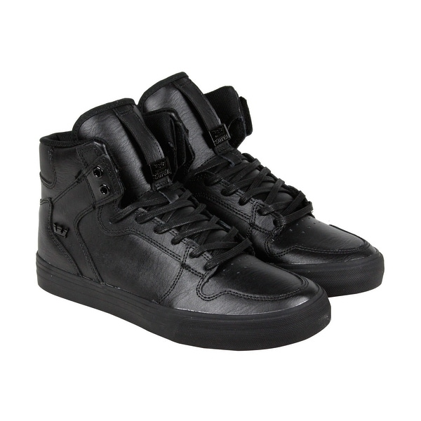 6282a1cb25 Shop Supra Vaider Mens Black Leather High Top Lace Up Sneakers Shoes ...