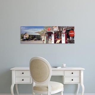 Easy Art Prints Panoramic Image 'Store with a gas station on the roadside, Route 66, Hackenberry, Arizona' Canvas Art