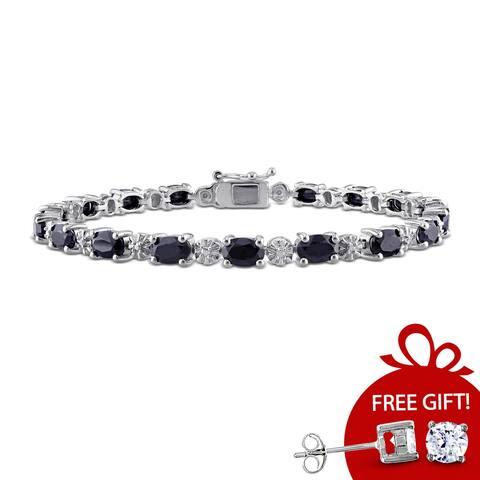 11 1/6ct TGW Black Sapphire Tennis Bracelet in Sterling Silver by Miadora - 7.25 in x 4.5 mm x 4.2 mm
