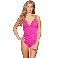 La Blanca Magenta Cross Back One Piece Swimsuit - Purple