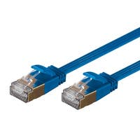 SlimRun Cat6A Ethernet Patch Cable RJ45 Flat Stranded STP Copper 36AWG 10ft Blue