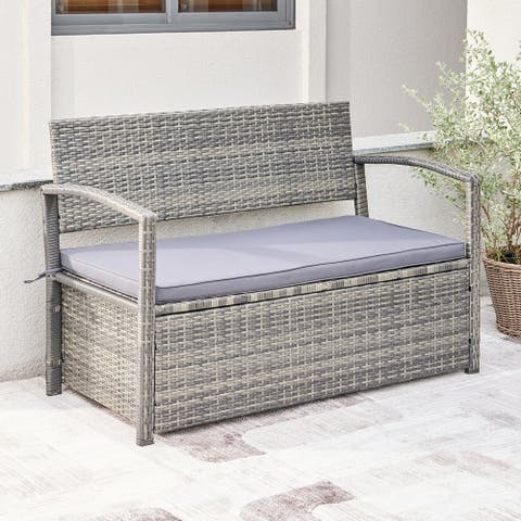 Gabrielle All-weather Resin Wicker Lounge Patio Sofa Storage Bench in Grey with Cushion