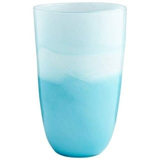 Cyan Design Large Devotion Vase Devotion 12 Inch Tall Glass Vase - sky blue and white