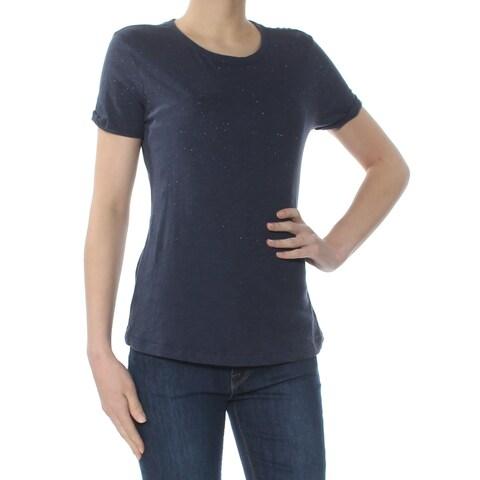 LUCKY BRAND Womens Navy Glitter Short Sleeve Crew Neck T-Shirt Top Size: XS