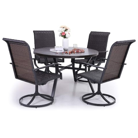 Sophia & William Outdoor Patio 5-piece Dining Set, 1 Metal Dining Table and 4 PE Rattan Swivel Chairs