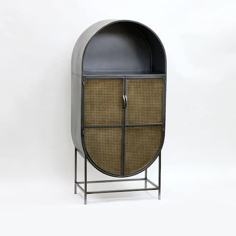 Blake Cane Accent Cabinet, 56 Inch Tall, Gunmetal and Golden Brown