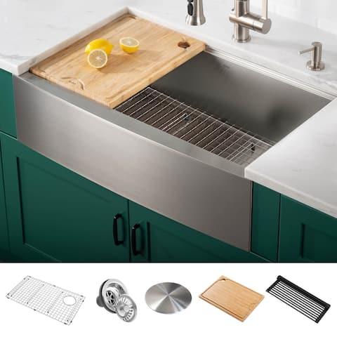 KRAUS Kore Workstation Farmhouse Apron Stainless Steel Kitchen Sink