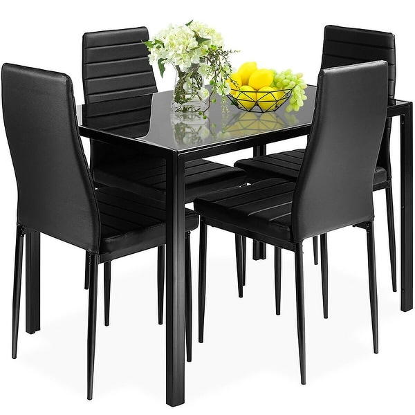 Costway 5 Piece Kitchen Dining Set Glass Metal Table and 4 Chairs. Opens flyout.