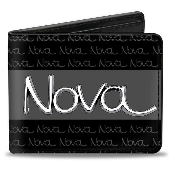 1968 72 Nova Script Emblem Stripe Repeat Black Gray Silver Bi Fold Wallet - One Size Fits most