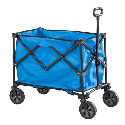 Sunjoy Odell Collapsible Blue Folding Wagon Cart with Wheels