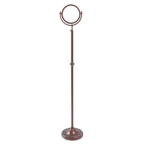 Allied Brass Adjustable Height Floor Standing Make-Up Mirror 8-in Diameter with 3X Magnification