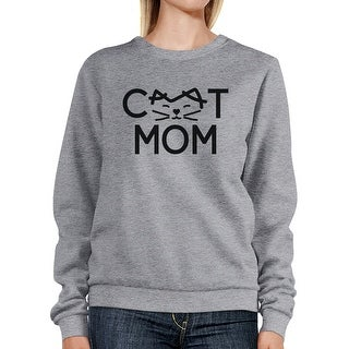 Cat Mom Grey Unisex Sweatshirt Fleece Cute Gift Ideas For Cat Lady