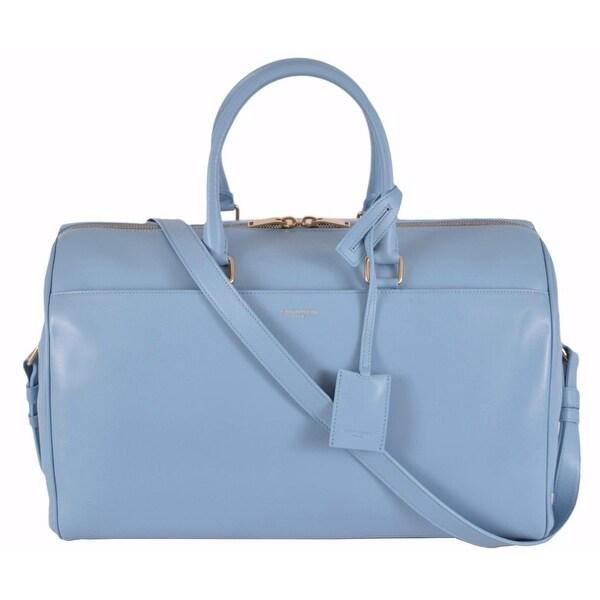 67a9ecba87 Shop Saint Laurent YSL 322050 BLUE Classic 12 Hour Duffle Purse Satchel  W Strap - Free Shipping Today - Overstock - 12191981