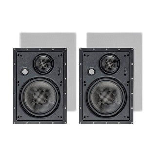 Monoprice In Wall 3-Way Speakers Carbon Fiber - 8 Inch (pair) With Paintable Magnetic Grille, For Home Theater - Alpha Series