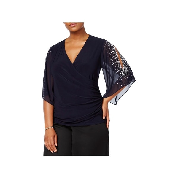 MSK Women Womens Plus Pullover Top Surplice Day To Night