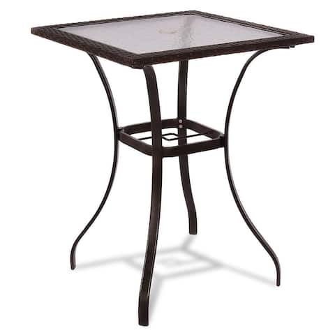 Outdoor Patio Rattan Square Table with Glass Top - Brown