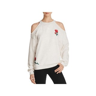 Honey Punch Womens Pullover Sweater Embroidered Distressed - S