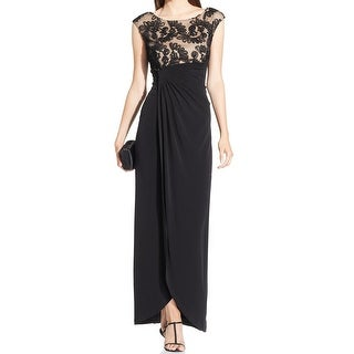 Connected Apparel NEW Black Nude Women's 12 Contrast Empire Waist Dress