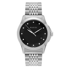 Gucci Men's 'G-Timeless' YA126405 Stainless Steel Diamond Accent Bracelet Watch