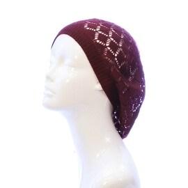 Womens Diamond Weave Flower Knit Beanie Lightweight