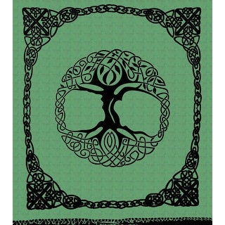 Handmade Celtic Tree of life Cotton Tapestry Bedspread Beach Sheet Dorm Decor - Twin & Full - Green & Amber - with Fringes