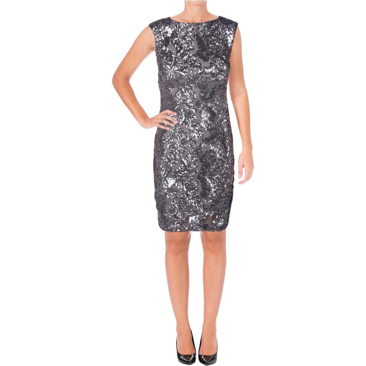 Shop Lauren Ralph Lauren Womens Cocktail Dress Sequined Open Back ...