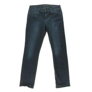 Calvin Klein Jeans Womens Deep Ocean Wash Mid-Rise Straight Leg Jeans
