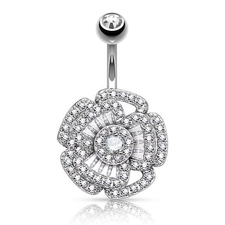 "Princess Cut CZ with Micro Pave CZ Camellia Surgical Steel Navel Ring - 14GA-3/8"" Length (Sold Ind.)"