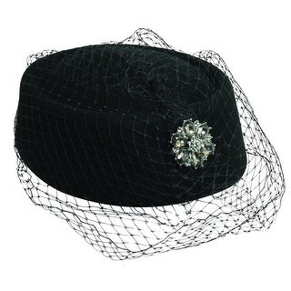Scala Classico Women's Black Pillbox Church Hat with Netting, Black (3 options available)