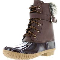 Axny Dylan-7 Women's Two Tone Buckle Strap Ankle Rain Duck Boots One Size Small