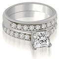 1.40 cttw. 14K White Gold Cathedral Princess Cut Diamond Bridal Set - Thumbnail 0