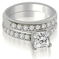 1.65 cttw. 14K White Gold Cathedral Princess Cut Diamond Bridal Set - Thumbnail 0