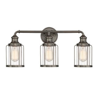"Designers Fountain 91303 Anson 3 Light 24"" Wide Bathroom Vanity Light with Glass"