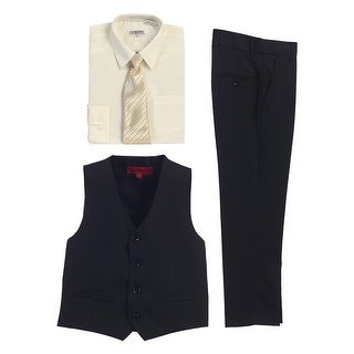 Gioberti Ivory Black Vest Pants Striped Tie Shirt 4 Pc Formal Set
