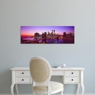 Easy Art Prints Panoramic Images's 'USA, New York City, Brooklyn Bridge, twilight' Premium Canvas Art