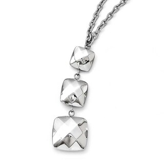 Chisel Stainless Steel Polished Hollow Squares Dangle Necklace (4 mm) - 19.75 in