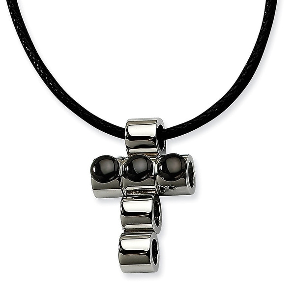 Chisel Stainless Steel Polished with Black Plated Beads Cross 20 Inch Pendant Neckalce  (3 mm) - 20 in