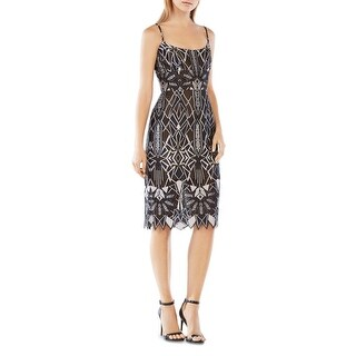 BCBG Max Azria Womens Alese Casual Dress Lace Overlay Adjustable Straps