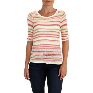 Foxcroft Womens Pullover Sweater Striped Open Knit