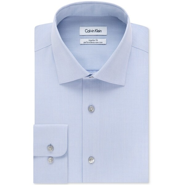 "Calvin Klein Mens Performance Non Iron Button Up Dress Shirt, blue, 18.5"" Neck 36""-37"" Sleeve"
