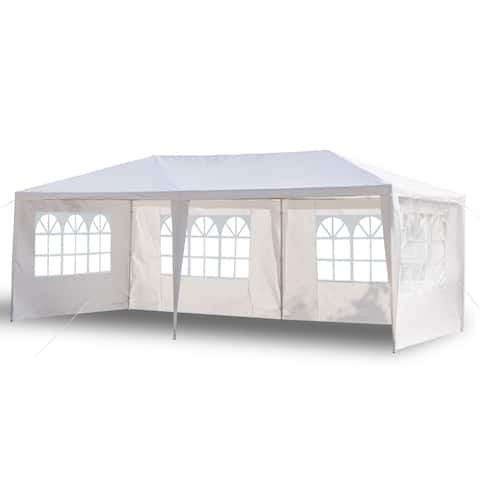 10'x20' Four Sides Waterproof Tent with Spiral Tubes White
