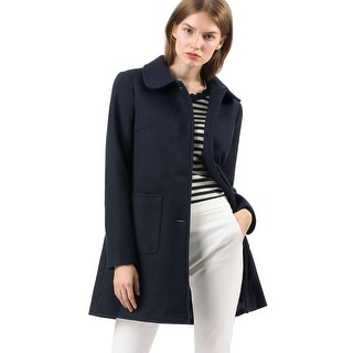 Women's Turn Down Collar Single Breasted Winter Outwear Trench Coat - Blue