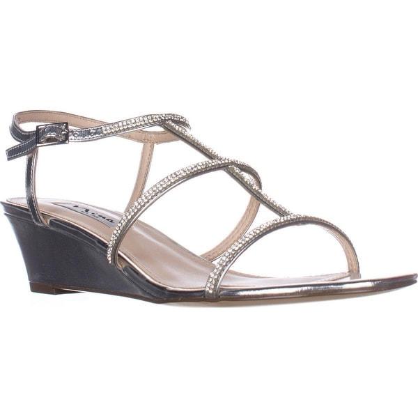 Nina Floria Wedge Evening Sandals, Silver