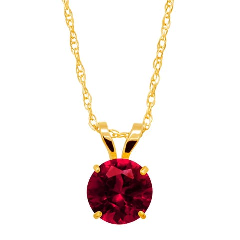 1 ct Created Ruby Round-Cut Solitaire Pendant in 10K Gold - Red