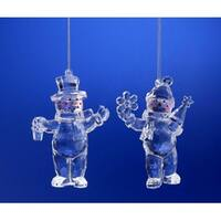 """Club Pack of 16 Icy Crystal Christmas Snow People Ornaments 4"""" - CLEAR"""