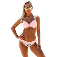Cali Chic Women's Two Piece Swimwear Celebrity Pink Padded Gather Push-up Bikini