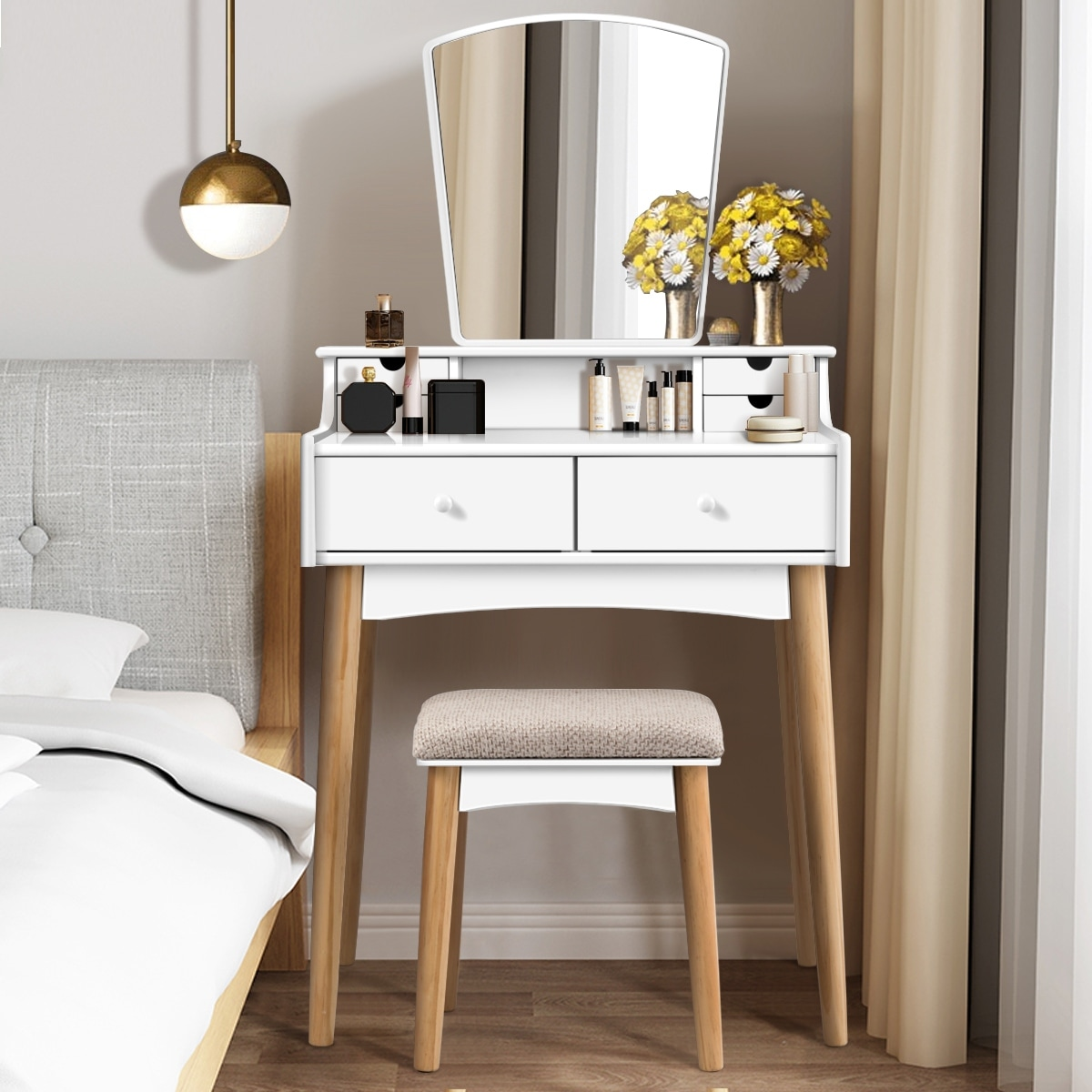Costway 6 Drawer Vanity Table With