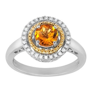 3/4 ct Citrine Ring with Diamonds in Sterling Silver and 14K Gold - Yellow