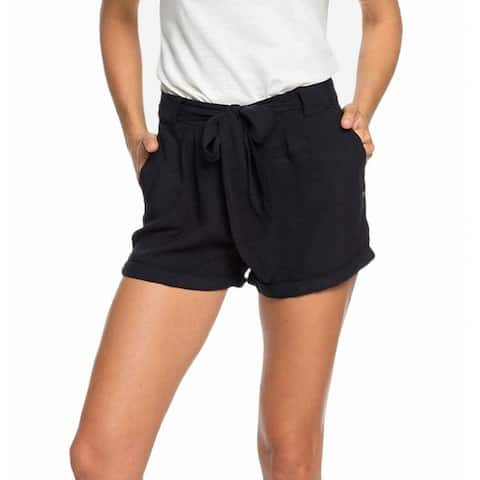 Roxy Women's Shorts Black Size 10 Life in a Love Cuffed Belted 4-Pocket
